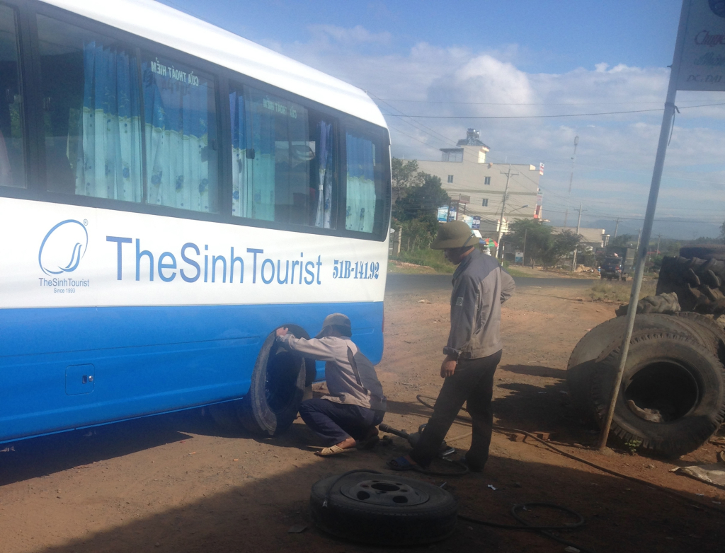 No bus journey is complete without a quick tyre change...