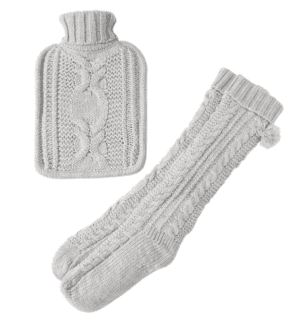 Cable Knit Hot Water Bottle Set